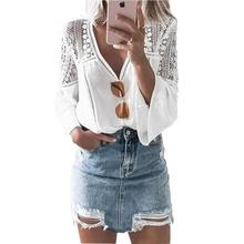 Yfashion Lace Hollow Out White Blouse Women Solid Chiffon V-neck Lace Horn Sleeve Stylish Blouses Stitched Blouse Female femme grey v pattern back lace hollow out staple blouse