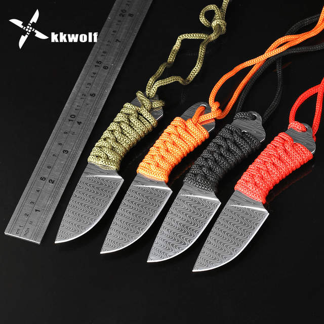 KKWOLF Full Tang Stainless Steel Knife Fixed Blade Hunting Knife Camping  Survival Tactical Knife Outdoor EDC Defendable Portable