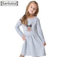 Sanlutoz 2016 Kids Dress For Girl Toddler Clothes Children Clothing Bunny Girl Dress Long Sleeve Cotton