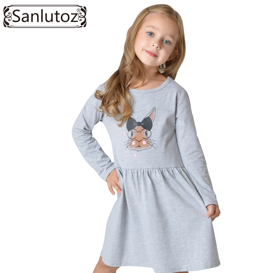 Sanlutoz 2017 Kids Dress for Girl Toddler Clothes Children Clothing Bunny Girl Dress Long Sleeve Cotton Brand Princess Party fashion brand autumn children girl clothes toddler girl clothing sets cute cat long sleeve tshirt and overalls kid girl clothes