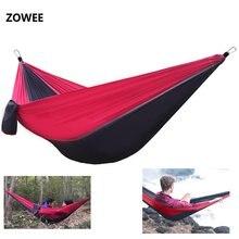 Hamac simple portatif de Camping en plein air léger de hamac de Parachute en Nylon de 210 T avec des cordes de hamac et des mousquetons de hamac