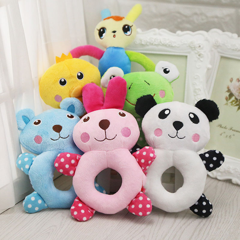 2017 Circle Dog Toys Pet Puppy Chew Squeaker Squeaky Plush Sound Cute Animal Designs Stuffed Dog Squeaking Toy