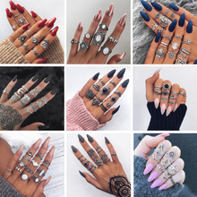 Tocona Bohemia Antique Gold Silver Elephant Flower Rose Heart Crown Carved Rings Set Knuckle Finger Midi Ring for Women Jewelry cheap Fashion Geometric 2036 2803 3903 4020 4021 4023 4093 4096 4227 4282 4561 4780 4846 4985 Wedding Bands None Zinc Alloy Metal