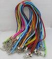 50 unids/lote Ajustable Collar de Cordón de Cuero de Gamuza Color Surtidos Con Corchete de la Langosta 3mm 18-20 pulgadas