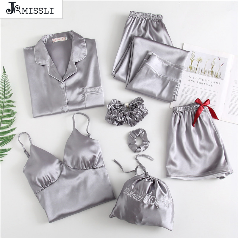 JRMISSLI 7 Pieces Nightwear Sets Satin Sleepwear Sexy Women Pajamas Lace Slik Sleep Lounge Ladies Home Wear Clothing Pants