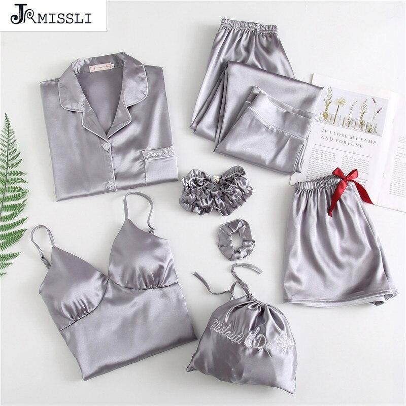 JRMISSLI 7 Pieces Nightwear   Sets   Satin Sleepwear Sexy Women   Pajamas   Lace Slik Sleep Lounge Ladies Home Wear Clothing Pants