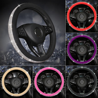 Fashion Women PU Leather Car Steering Wheel Covers Diamond Black Pink Auto Steering Covers Cases for Lady Girls Car Accessories