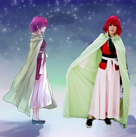Hot Anime Yona of the Dawn Akatsuki no Yona Cosplay Full Set Dress With Costume+Cape Gift Earrings