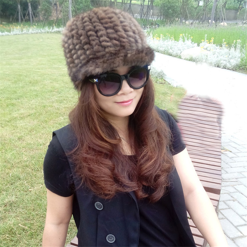 Fashion Ladies 100% Genuine Knitted Mink Fur Winter Hat Peaked Cap 6 Colors Warm Fur Hats Vintage Real Fur Cap skullies beanies mink mink wool hat hat lady warm winter knight peaked cap cap peaked cap