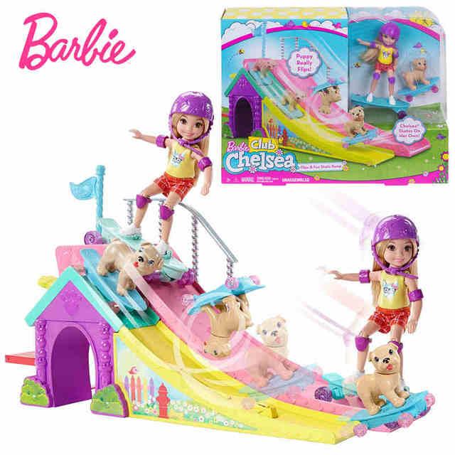 Barbie Original Little Kelly Skateboard Park Set Cute Toy For Girl Birthday Gift Children Gifts Fashion