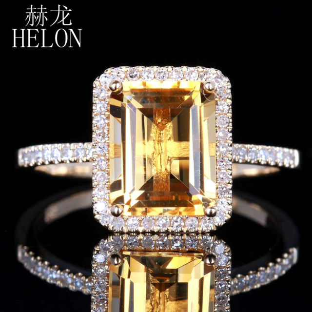 HELON Citrine 6.5x8.5mm Emerald 0.2ct Diamond Accent Ring Real 14K Yellow Gold Engagement Wedding Fashion Jewelry Women Ring