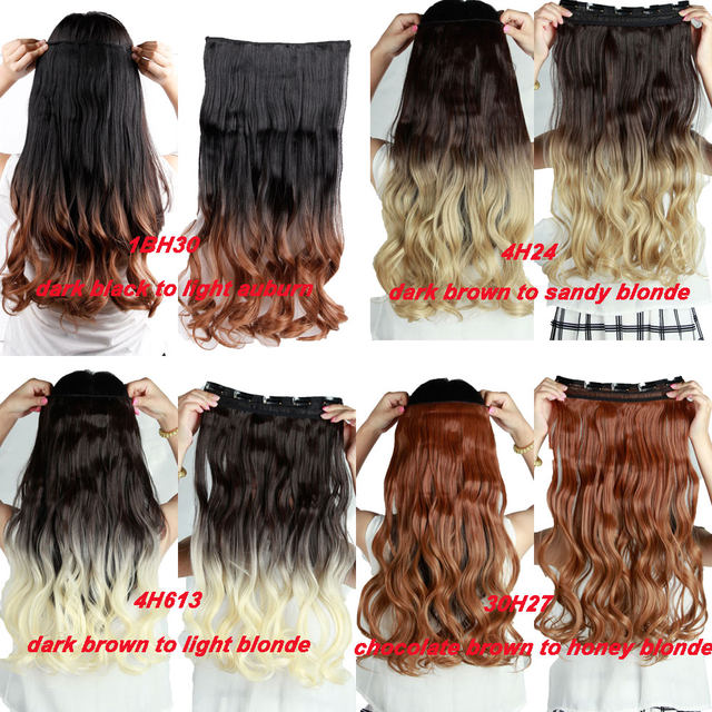 Online Shop S Noilite Long Curly 23 Inches Clip In Ombre Hair