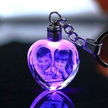 Красочный Кристалл Брелок Фото светодиодный светильник брелок Мода светящийся брелок в форме сердца Стекло изображение подарки сувениры для ребёнка