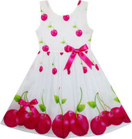 Girls Dress Red Apple Green Leave Print Satin Bow Tie 2 6
