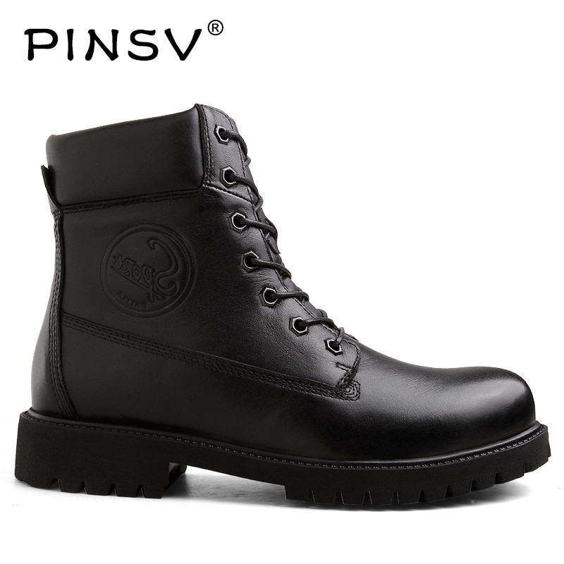 PINSV Genuine Leather Winter Boots Mens Work Shoes Warm Military Boots Men Winter Shoes Motorcycle Boots Size 38-45