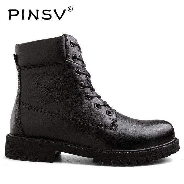 PINSV oryginalne skórzane buty zimowe męskie buty robocze ciepłe wojskowe buty męskie buty zimowe buty motocyklowe buty rozmiar 38-45