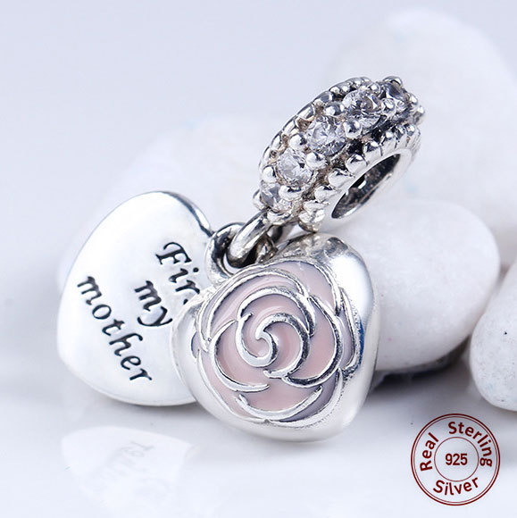 98aa06c31 First my mother forever my friend pink rose Pendant Charms 925 Sterling  Silver heart shape Dangle beads For pandora Bracelets