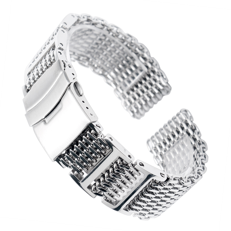 купить High Quality 22mm Cool Men Silver Shark Mesh Watch Band Strap Stainless Steel Folding Clasp with Safety Replacement Watchband недорого