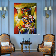 Elegant Lady Saxophone Gentlemen Picasso Style Art 100% Hand Painted Figure Canvas Painting Nordic Decor for Living Room