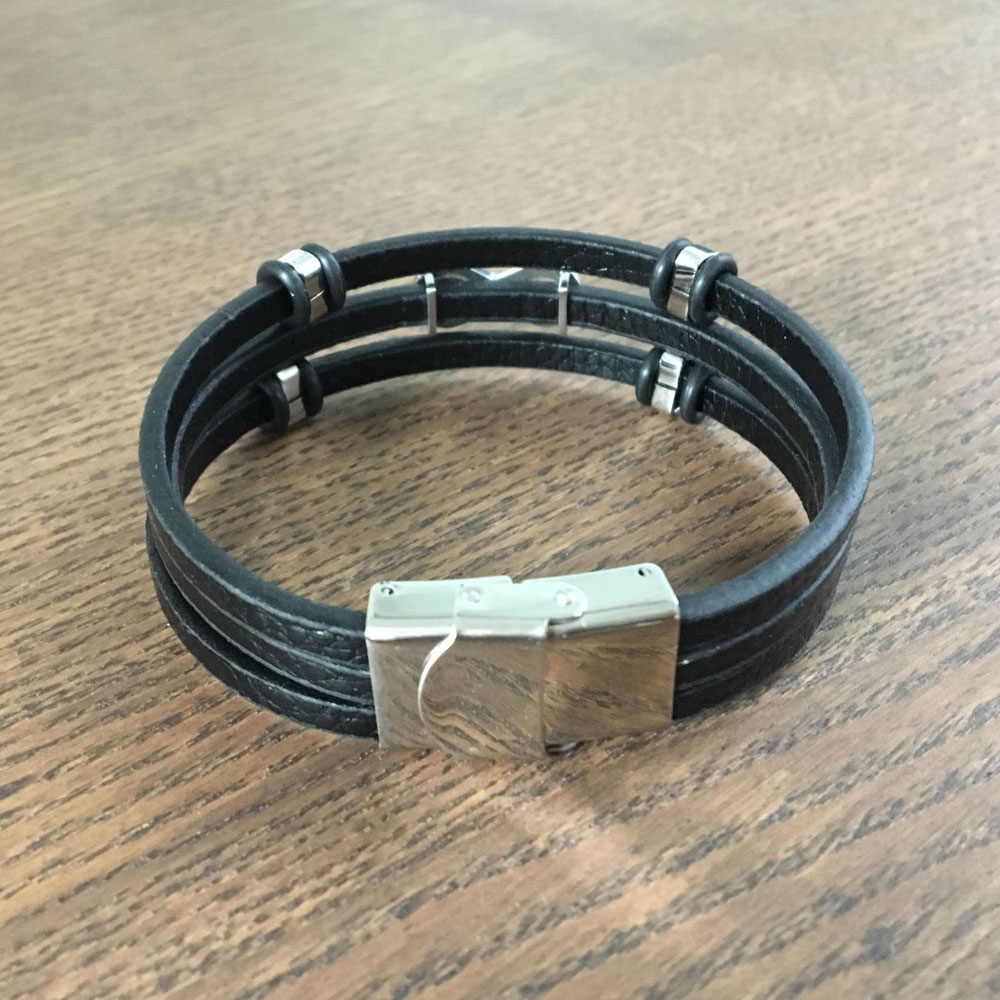 Nieskończoność kształt mężczyźni skórzane bransoletki i Bangles moda bransoletki ze stali nierdzewnej męska bransoletka biżuteria akcesoria (BA102254)