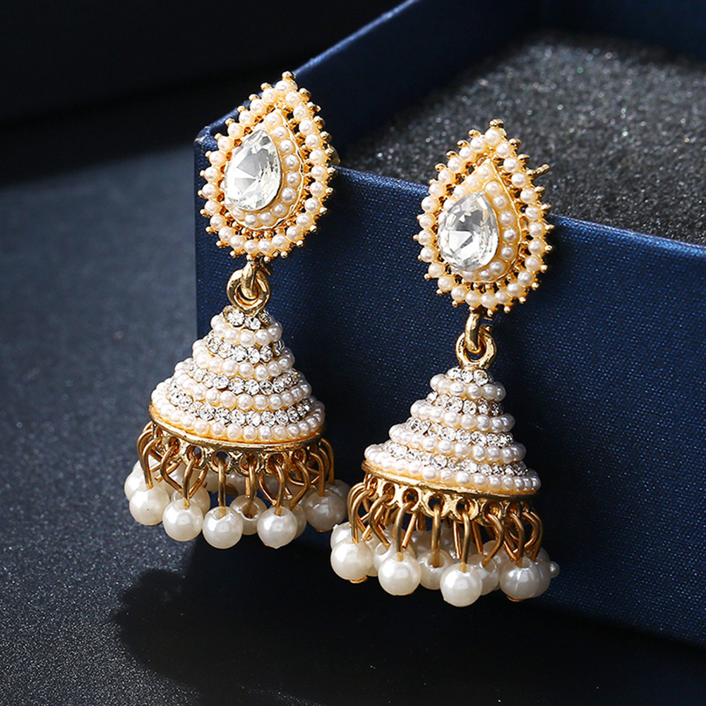Fashion Jewelry Bollywood Large Crystal Earrings Statement Drop Large Wedding Party Uk Seller At All Costs