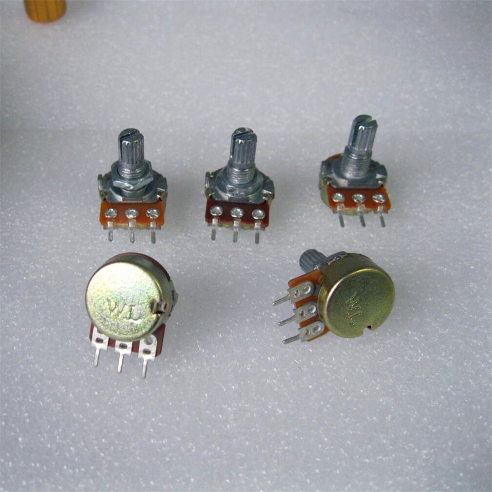 10pc High Quality WH148 B50K Adjust Volume Size Switch Potentiometer Linear Potentiometer 15mm Shaft With Nut And Washers Hot