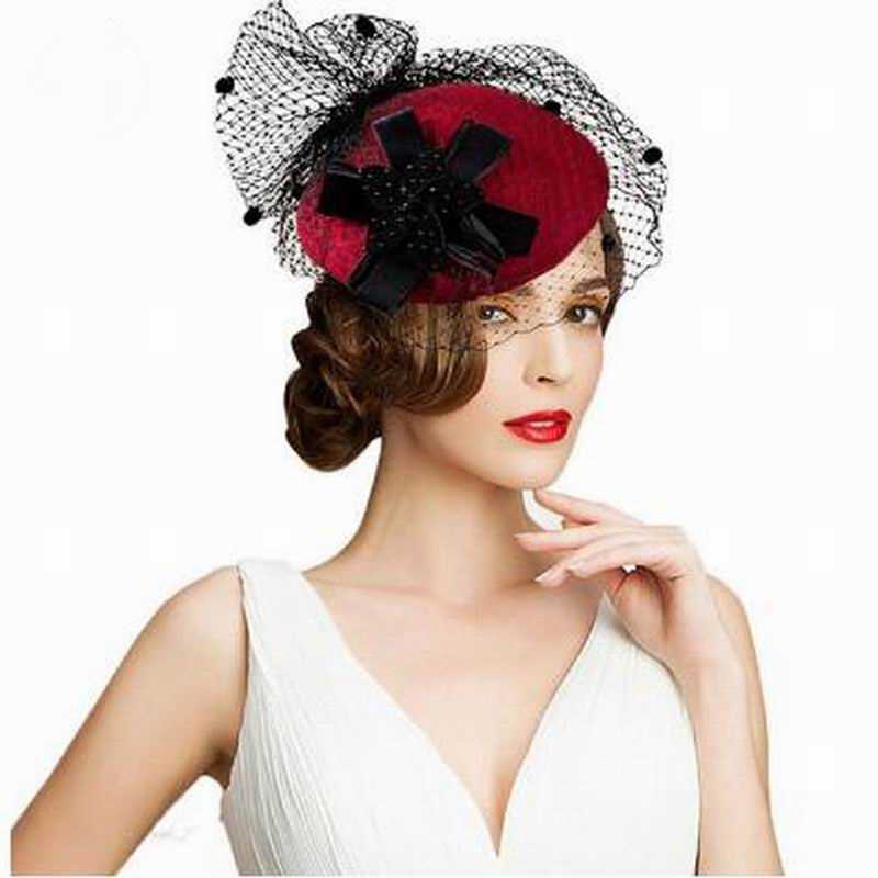 قبعات السيدات قطع زينة سوداء 100% أستراليا الصوف قبعة دائرية مع الحجاب كوكتيل الزفاف للنساء ديربي الكنيسة فام
