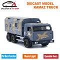 16.5 CM Escala Diecast Modelo de Camión Kamaz, Regalo de los cabritos, 1/32 de Metal Juguetes de Coches Con Retirarse Función/Música/Luz/Paquete