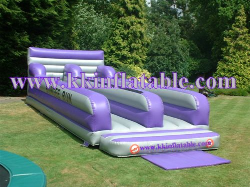 Commercial purple inflatable bungee run outdoor playground equipment