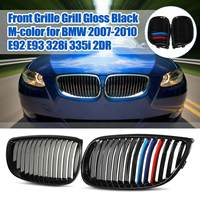 Pair Front Bumper Grille Grills Gloss Black + M color for BMW E92 E93 3 Series Coupe 328i 335i M3 2007 2008 2009 2010