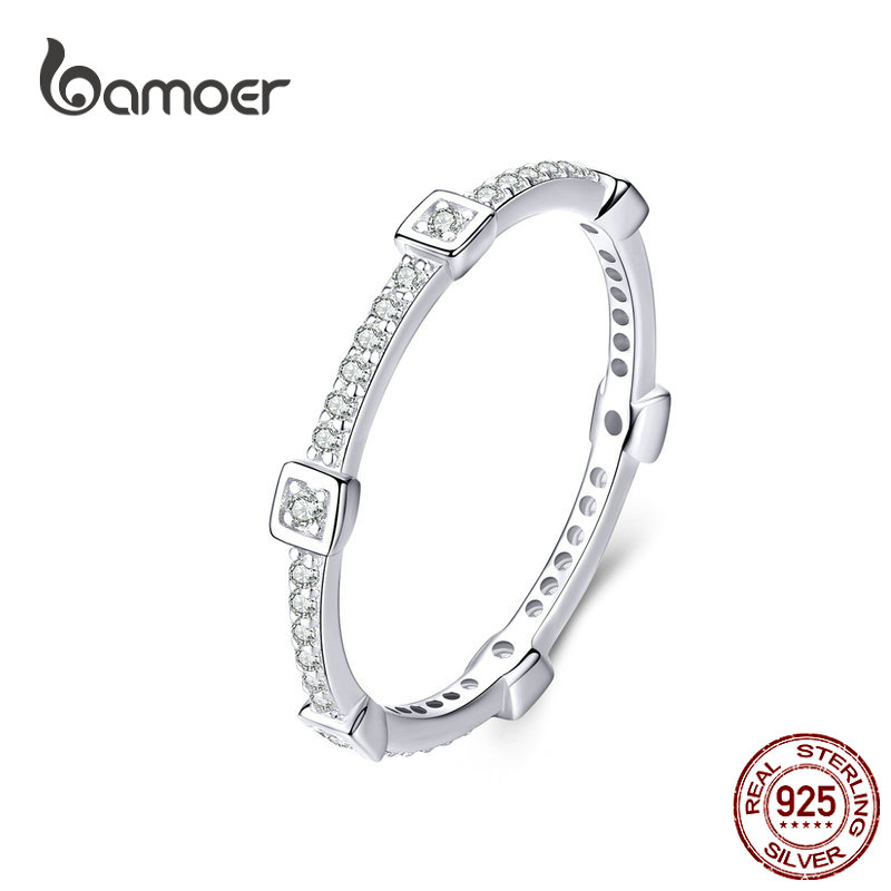 bamoer Square Geometric Stackable Finger Rings for Women Clear CZ 925 Sterling Silver