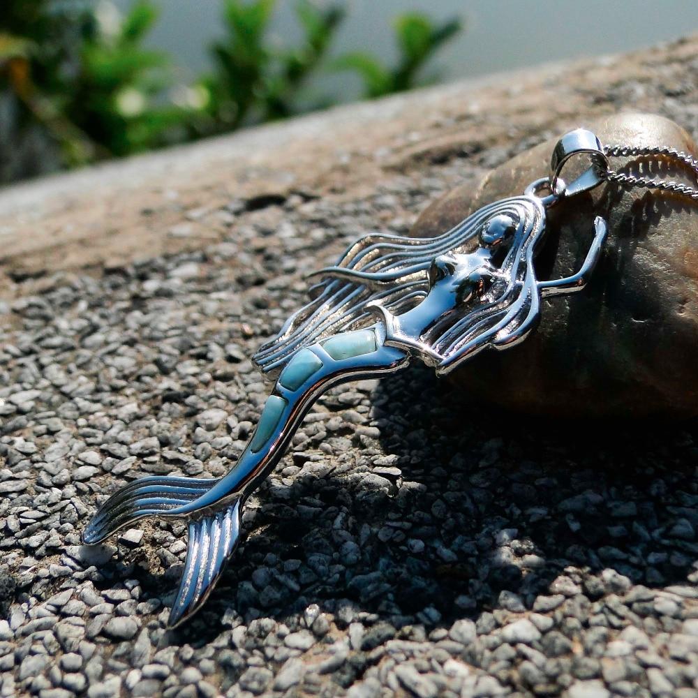 100 Genuine Larimar Mermaid Pendant 925 Sterling Silver Charm Pendant Bohemian Style Mermaid Crystal Stone Jewelry