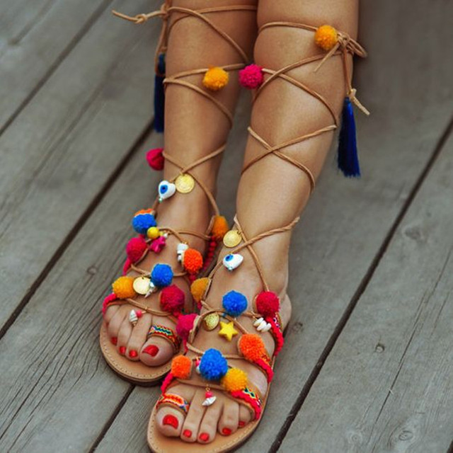 Gladiator Bohemian Pom Pom Sandals Summer Lace-up Sandals Ethnic Sandals  Handmade Decorated Greek Leather Sandals Fringed Shoes