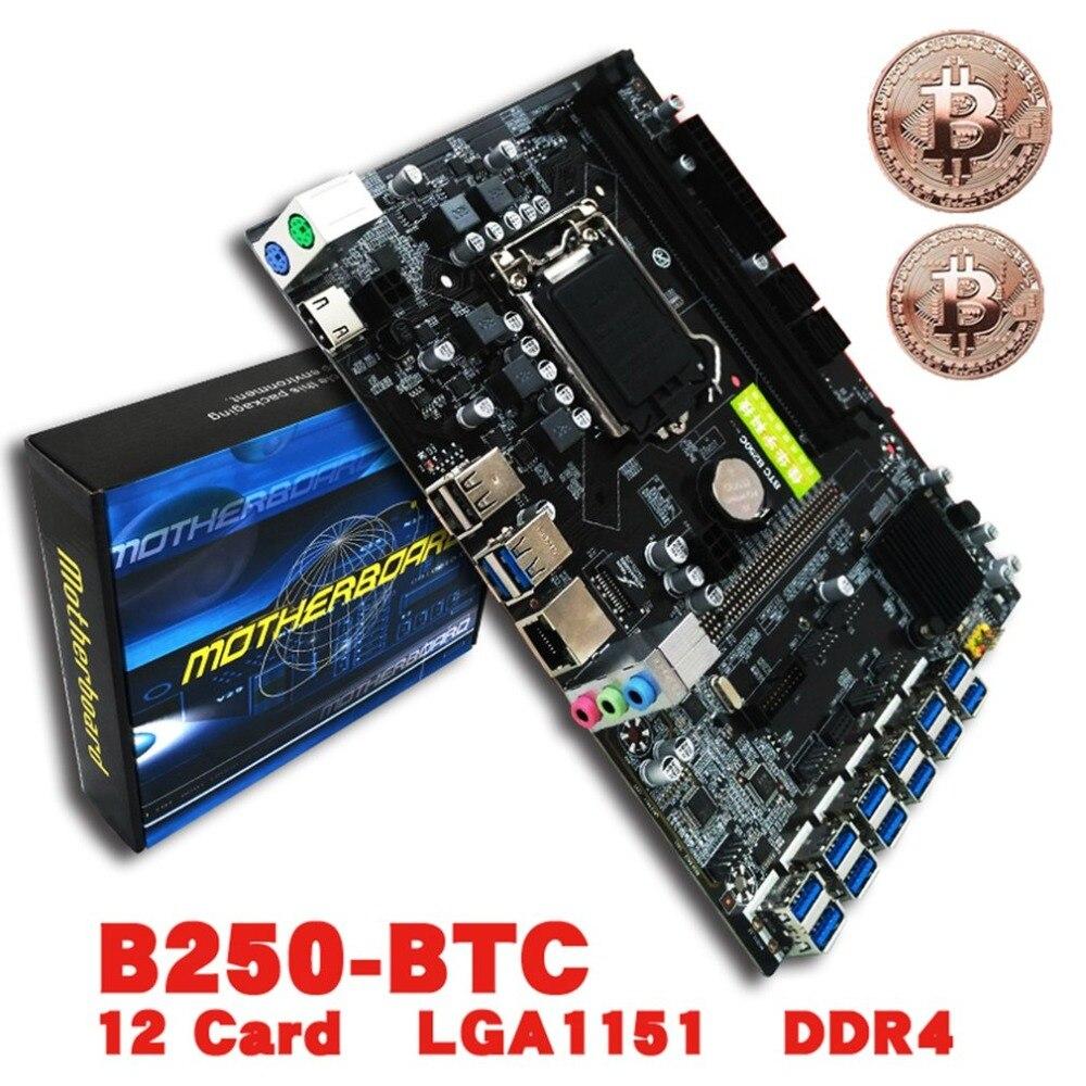 Профессиональный B250 btc плата lga1151 Процессор DDR4 памяти 12 карты USB3.0 расширения адаптер настольного компьютера материнская плата
