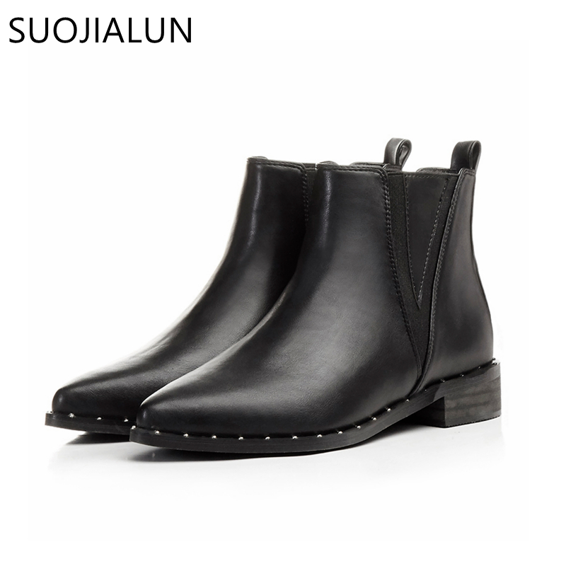 SUOJIALUN Autumn Winter Women Boots Casual Ladies Shoes Martin Boots Microfiber Leather Ankle Boots Flat Heel Plus Size 35-43 women led light shoes casual shoes led luminous boots unisex genuine leather ankle boots women usb charging martin boots 35 46