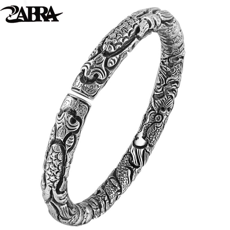 ZABRA Real Pure 999 Sterling Silver 6mm Open Cuff Super Star Bracelets Mens Thai Silver Vintage
