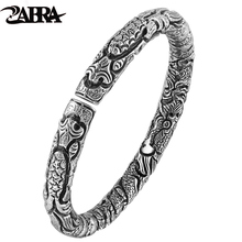 ZABRA Real Pure 999 Sterling Silver 6mm Open Cuff Super Star Bracelets Mens Thai Silver Vintage Punk Rock Handmade Men Bangles