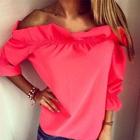 Fashion Women Blouse Puff Sleeve Slash Neck Soild Shirt Strapless Off Shoulder Ruffles Feminine Blouses Ladies