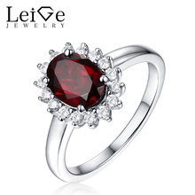 Leige Jewelry Halo Garnet Ring January Birthstone Natural Gemstone Silver 925 Oval Cut Prong Setting Romantic Anniversary Rings