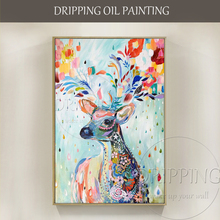 Artist Hand painted High Quality Colorful Nordic Oil Painting on Canvas Colorful Animal Deer Nordic Oil