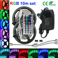 SMD5050 rgb led strip light 30led/m tape led/roll 4m 5m 10m 12m 15 DC12V+Power adapter+44 key controller Ribbon Strip Lighting