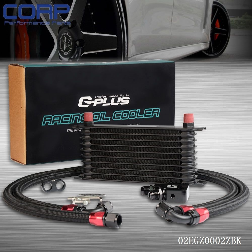 10 row aluminum engine oil cooler kit for ls1 ls2 ls3 lsx ve hsv vz black [ 1000 x 1000 Pixel ]