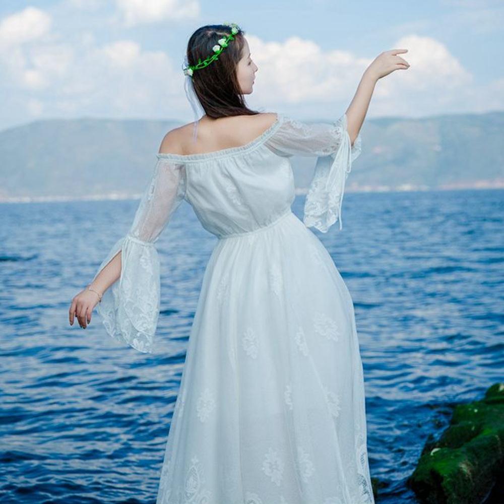 ☼ Hint Women Maxi Lace Dress White 2018 Autumn Summer Hollow Out ...