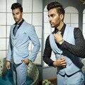 Trajes de Boda para hombre Guapos Trajes Formales para Hombres Azul Chaleco Novios Suite para Venta de Un Solo Botón de La Boda Esmoquin para Los Hombres 3 psc