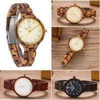 Unikalny projektant mody kobiet sukienka zegarki kwarcowe gorąca sprzedaży najnowszy damski Casual drewniany zegarek japonia ruch drewniany zegarek w Zegarki damskie od Zegarki na