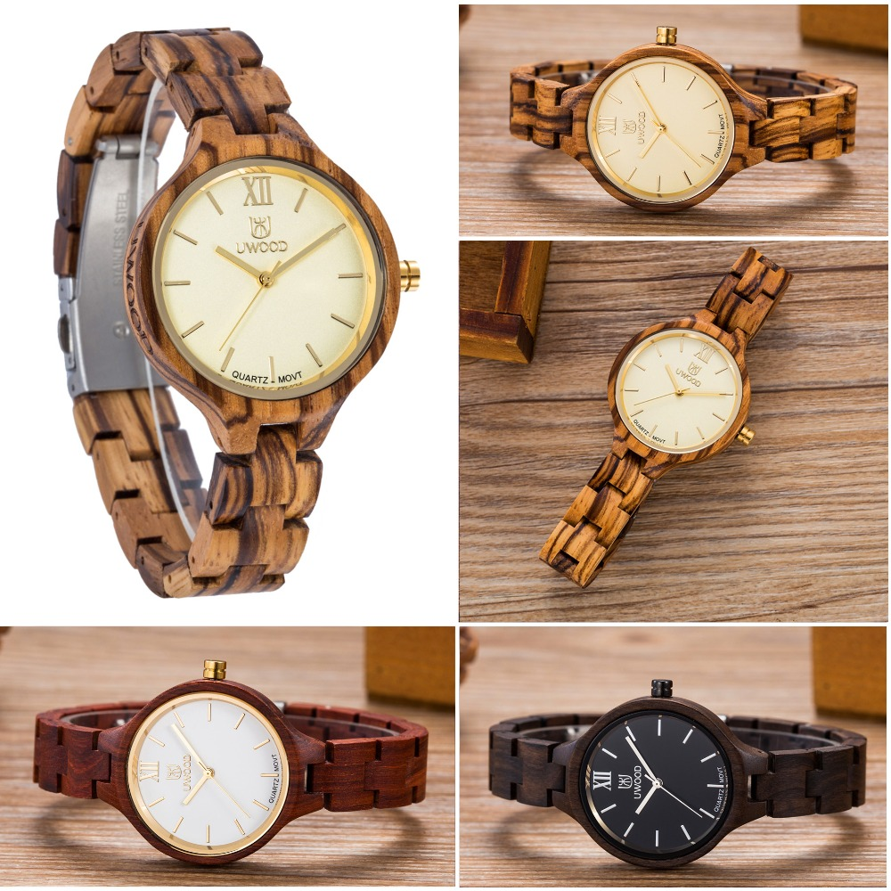 Unique Fashion Designer Women Dress Quartz Watches Hot Selling Newest Women`s Casual Wood Watch Japan Movement Wooden Wristwatch