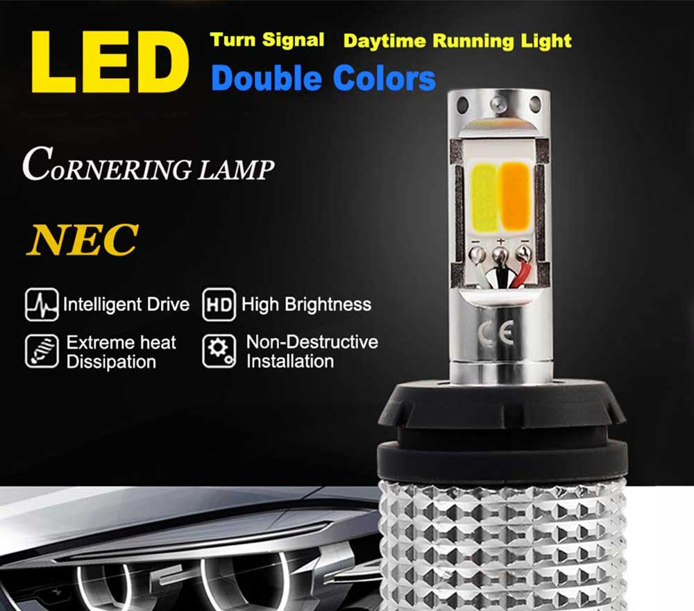 2PCS Car Led Daytime Running Lights Auto Led Bulbs Turn Signals DRL Double Colors Lamps 1156