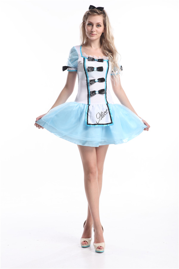 Charming Free Shipping ALICE IN WONDERLAND COSTUME SEXY Outfits Fancy Dress HALLOWEEN
