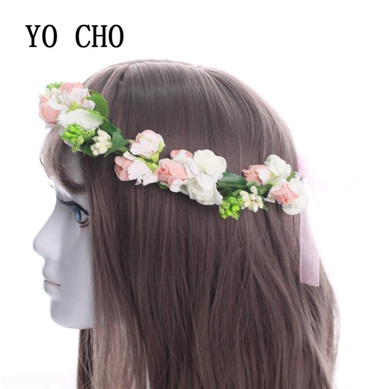 YO CHO Elegant Delicate Wreath Flower Headband Women For Wedding Floral Headband Hair Band Wedding Party Prom Festival Decor