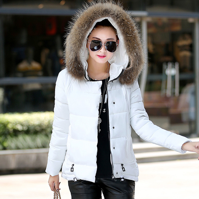 Six Colors Padded Jacket Women Winter Slim Short Paragraph Fashion Large Fur Collar Thick Cotton Coat Hooded  Plus Size 2XL C552 women thick winter large size long section padded hooded outerwear new fashion fur collar slim padded cotton warm coat jacket